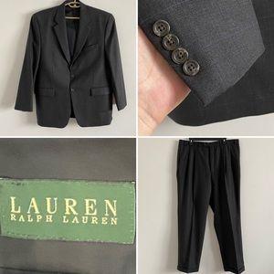 Ralph Lauren 44R Blazer 38x33 Pants Wool Suit Gray Blue Plaid Fall